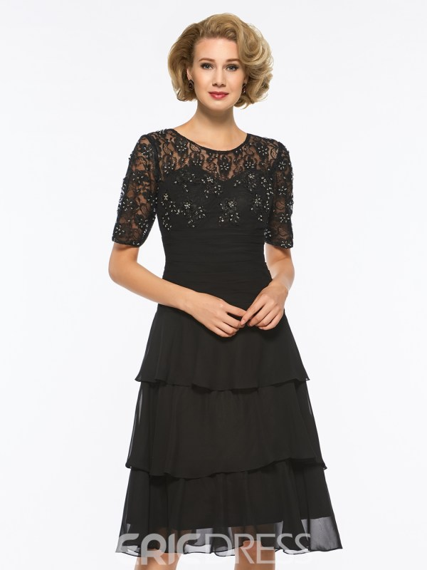 Scoop A Line Half Sleeves Beaded Knee Length Mother of The Bride Dress