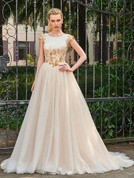 Scoop A Line Tulle Color Wedding Dress