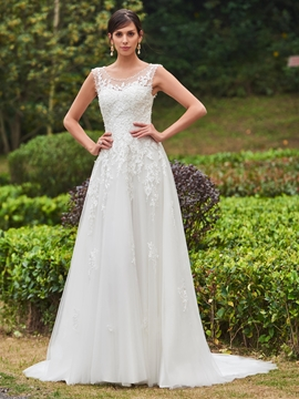Scoop Appliques A Line Wedding Dress