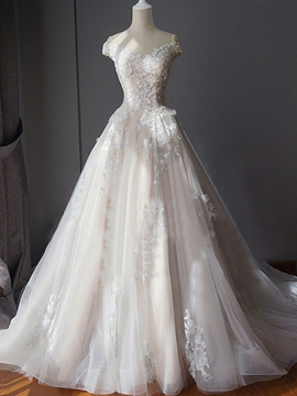 Scoop Ball Gown Appliques Chapel Wedding Dress