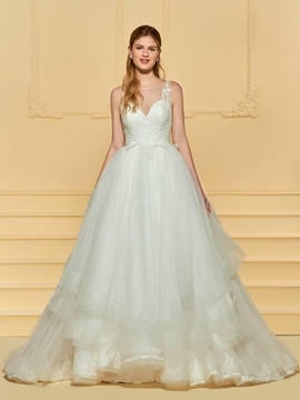 Scoop Ball Gown Tulle Wedding Dress