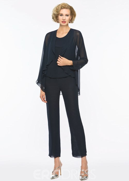 Scoop Chiffon Long Sleeves Mother of the Bride Jumpsuit with Jacket