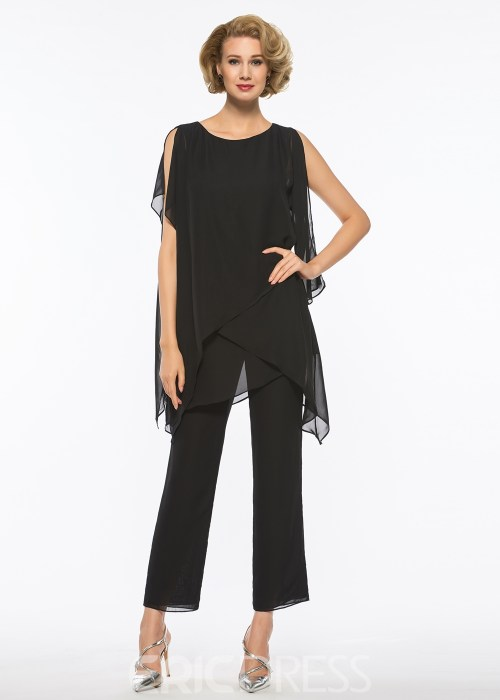 Scoop Chiffon Mother of The Bride Jumpsuit