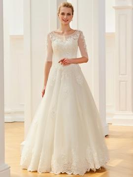 Scoop Half Sleeves Appliques Beaded Ball Gown Wedding Dress