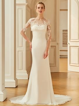 Scoop Mermaid Appliques Long Sleeves Wedding Dress
