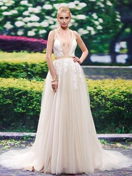 Sexy Deep V Neck Backless A Line Wedding Dress