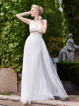 Sexy Illusion Neckline A Line Backless Wedding Dress