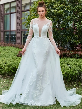 Sexy Long Sleeves Applique Tulle Wedding Dress with Train