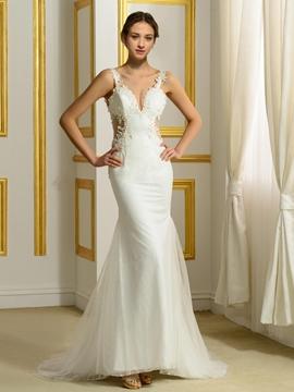 Sexy Spaghetti Strap Backless Mermaid Wedding Dress