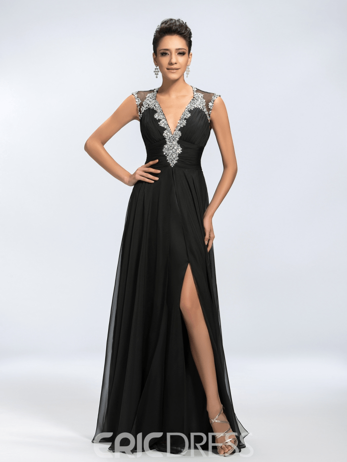 92c68d42869c Sexy Vogue Beading V-Neck Split Front Mother of the Bride Dress ...