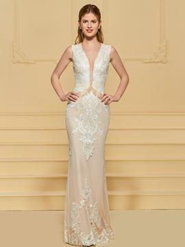 Sheath V Neck Lace Wedding Dress