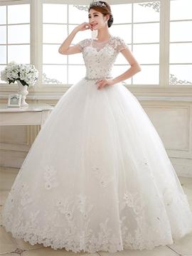 Sheer Jewel Neck Short Sleeve Lace Bal Gown Wedding Dress