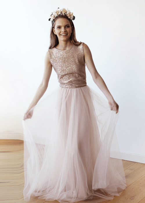 Sleeveless Pink Sequins Tulle Maxi Dress with Open-Back 1099