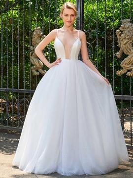 Spaghetti Straps V Neck Backless Ball Gown Wedding Dress