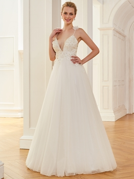Spaghetti Straps V Neck Beaded A Line Tulle Wedding Dress