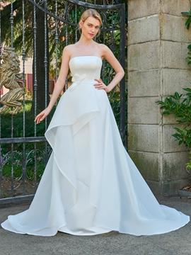 Strapless A Line Court Train Wedding Dress