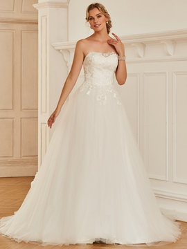 Strapless Appliques Ball Gown Tulle Wedding Dress