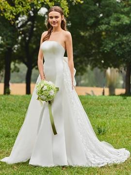 Strapless Matte Satin Garden Wedding Dress