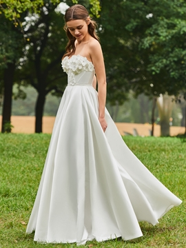 Sweetheart A Line Flowers Matte Satin Wedding Dress
