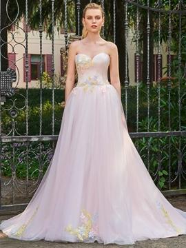 Sweetheart Appliques A Line Color Wedding Dress