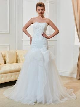 Sweetheart Mermaid Appliques Beaded Tulle Wedding Dress