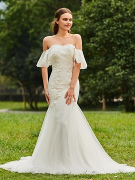 Sweetheart Mermaid Appliques Tulle Wedding Dress
