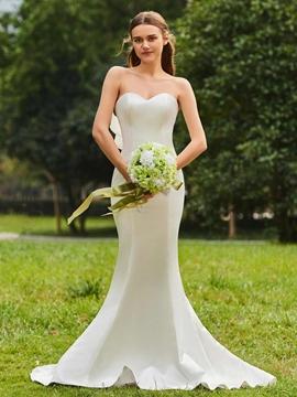 Sweetheart Mermaid Matte Satin Garden Wedding Dress