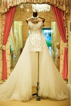Sweetheart Sheath Beaded Wedding Dress