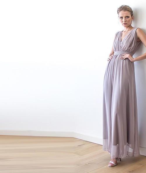 Taupe Sheer Chiffon Sleeveless Maxi Dress 1090