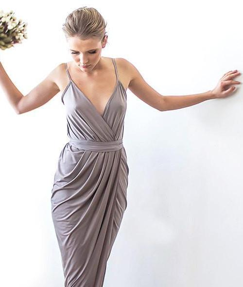 Taupe bridesmaids maxi wrap dress 1033