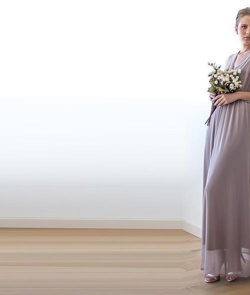 Taupe sheer chiffon maxi dress 1027