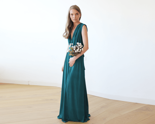 Teal green sleeveless maxi dress 1003