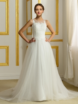 Timeless Appliques A Line Wedding Dress