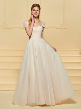 Tulle A Line Color Wedding Dress