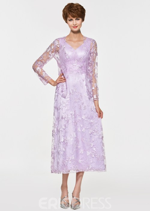 V Neck A Line Lace Tea Length Mother Of The Bride Dress
