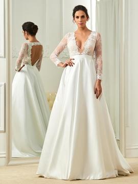 V Neck A Line Long Sleeves Backless Wedding Dress