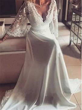 V Neck Long Sleeves Chiffon A Line Beach Wedding Dress