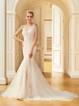 V Neck Mermiad Appliques Backless Tulle Wedding Dress