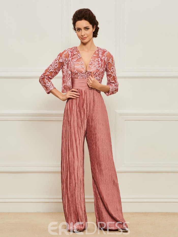 V-Neck Mother of the Bride Jumpsuit with Jacket