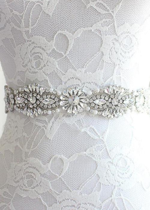 Wedding Belt Beaded Bridal Belt Crystal and Pearl Bridal Sash Prom Dress Waistband