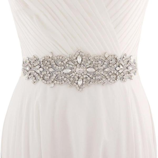 Wedding Belt Crystal 7 cm Wide Long Bridal Belts with Crystals Wedding Sash Crystal Pearls