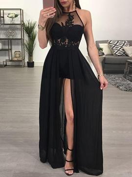 A Line Halter Applique Side Backless Evening Dress