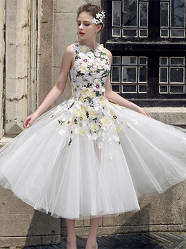 A Line Hand Made Flower Tea Length Prom Dress
