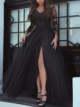 A Line Long Sleeve Applique Side Slit Evening Dress