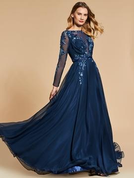 745bffec3a5 A Line Long Sleeve Sequin Applique Long Evening Dress - Cute Dresses