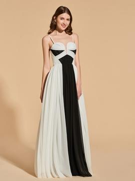 A Line Spaghetti Straps Black And White Long Prom Dress