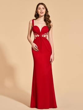 A Line Straps Sheath Long Prom Dress With Applique