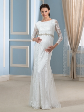 Beautiful Bateau 3-4 Length Sleeves Mermaid Lace Maternity Wedding Dress