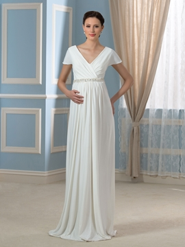Casual A Line Short Sleeves Maternity Wedding Dress