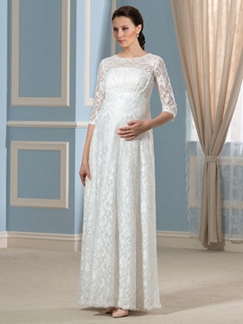 Charming Half Sleeves Lace Maternity Wedding Dress